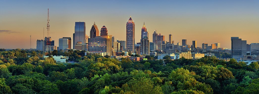Atlanta Skyline with trees in front