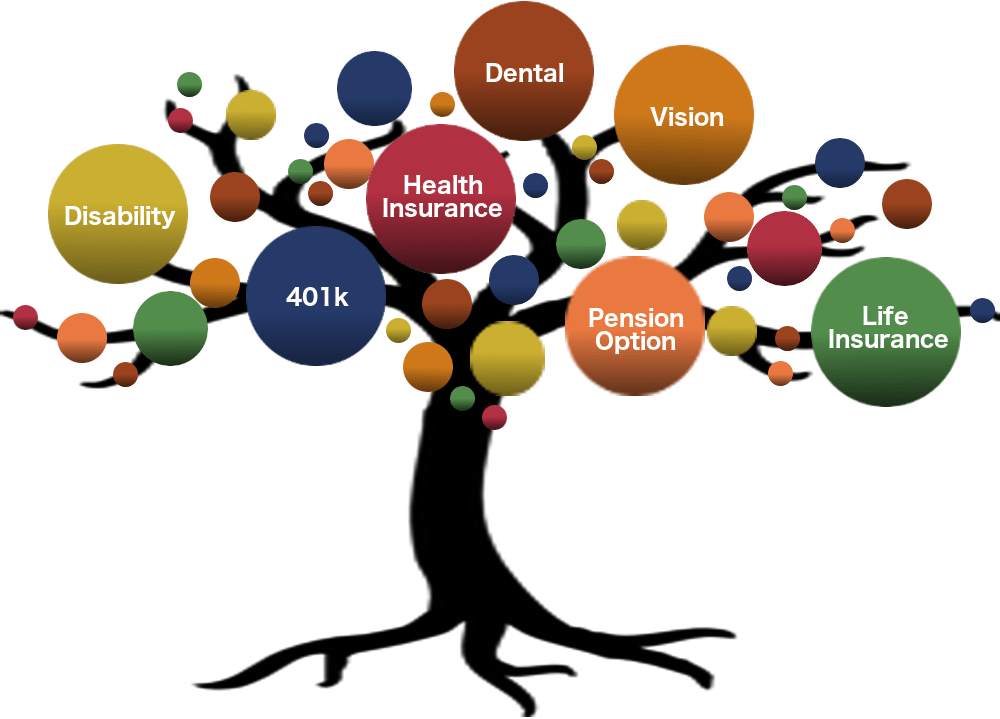 A tree illustrating various faculty benefits